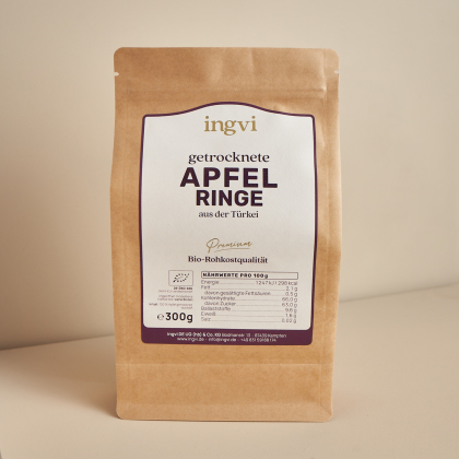 ingvi Apfelringe getrocknet, Rohkostqualität, Bio, 300g