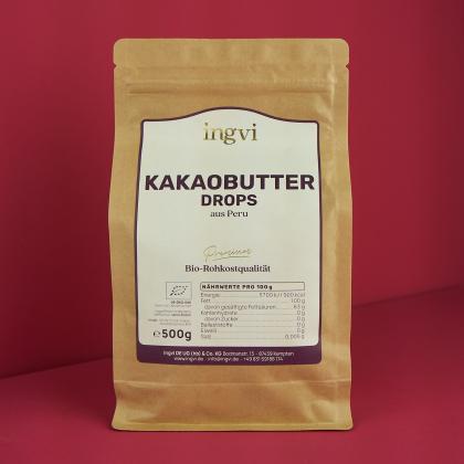 ingvi Kakaobutter Drops, Rohkostqualität, Bio, 500g