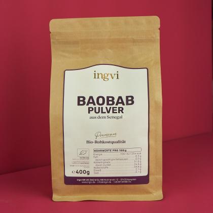 ingvi Baobabpulver, Rohkostqualität, Bio, 400g