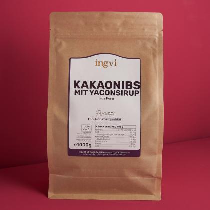 ingvi Kakaonibs Criollo  mit Yaconsirup, Rohkostqualität, Bio, 1000g